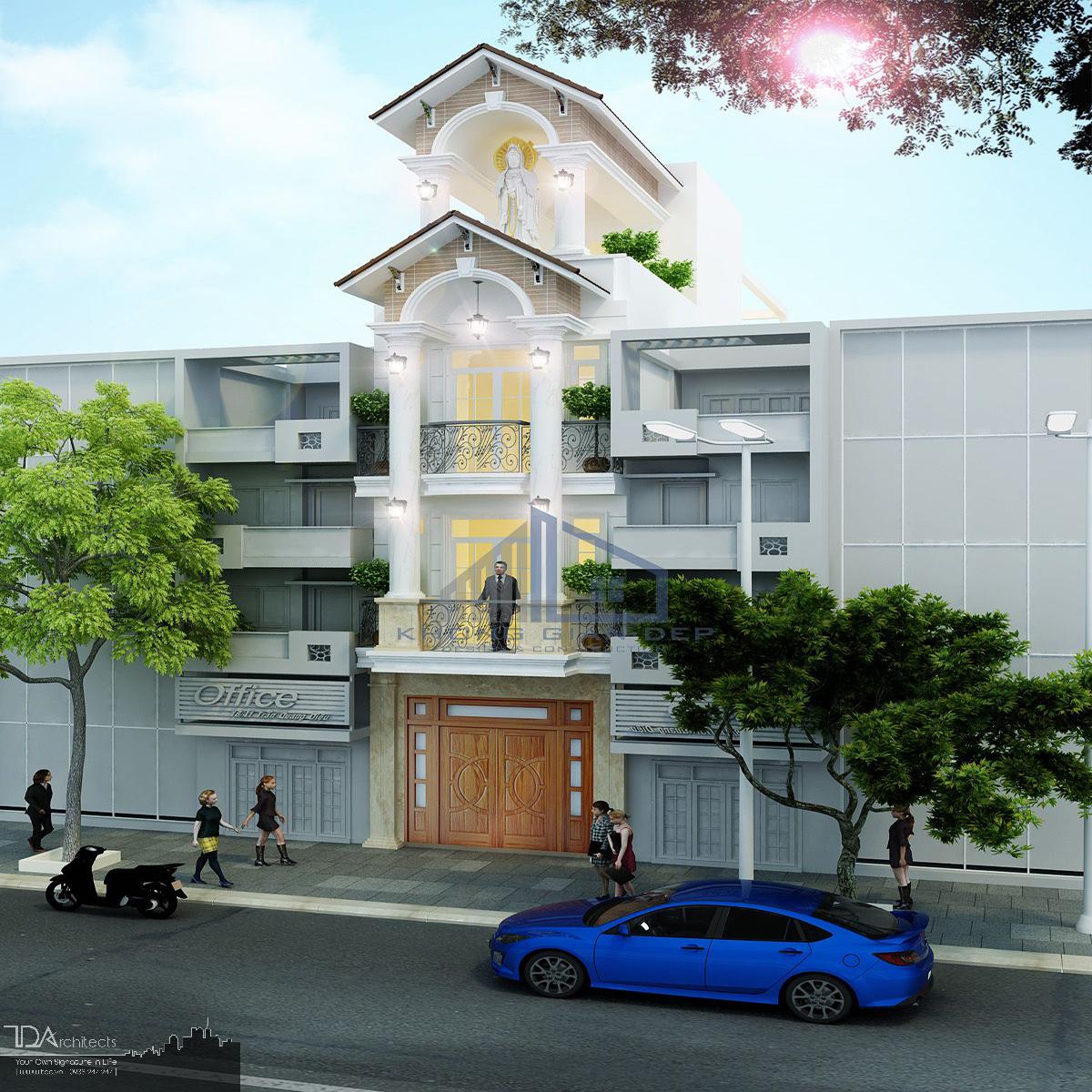 Bản thiết kế nhà mái thái 4 tầng tham khảo