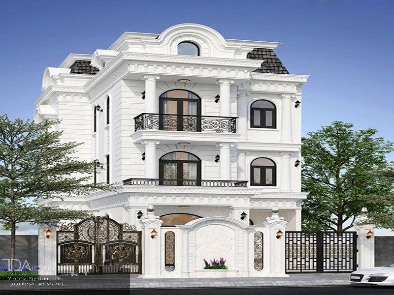Biệt thự cổ điển với tông màu trắng