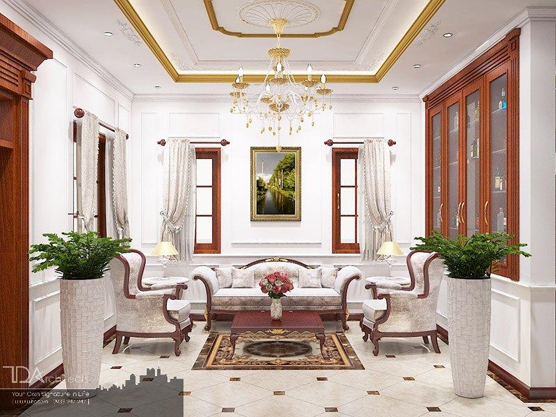 Không gian nội thất sang trọng với tông màu trắng