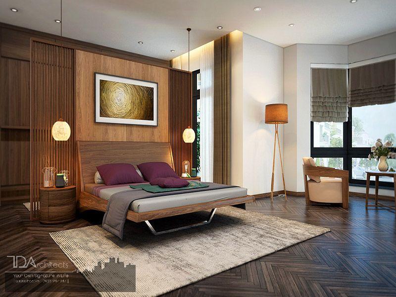 Không gian phòng ngủ kết hợp với gỗ