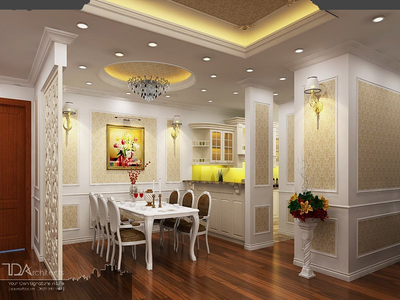 Khu vực phòng ăn theo phong cách tân cổ điển