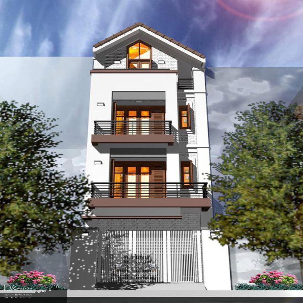 Mẫu nhà 4 tầng mái thái