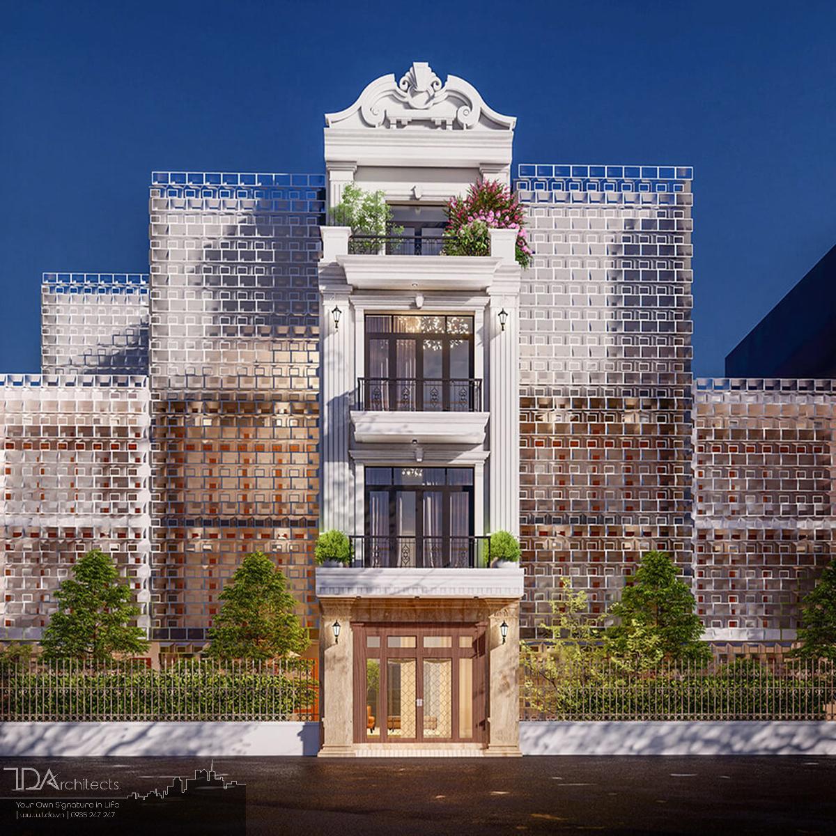 Mẫu nhà 4 tầng phong cách tân cổ điển