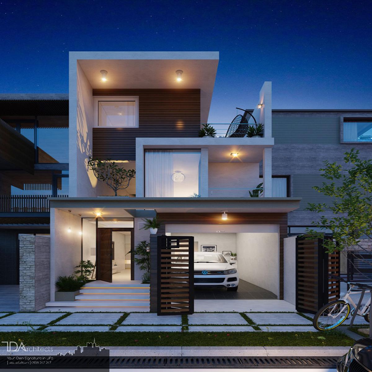 Mẫu nhà tối ưu diện tích với gara ô tô bề ngang 5m