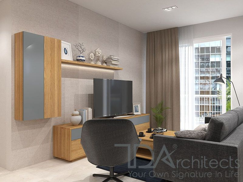 Mẫu phòng khách với tông màu dịu nhẹ