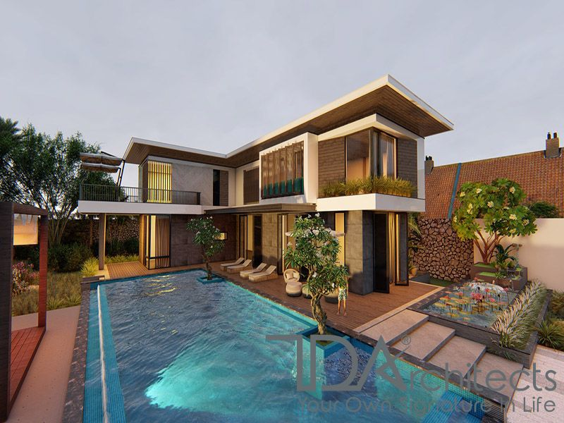Mẫu thiết kế biệt thự kết hợp với bể bơi