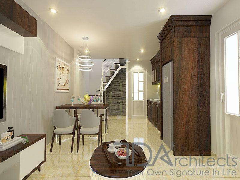 Mẫu thiết kế phòng khách kết hơp với nhà bếp sang trọng