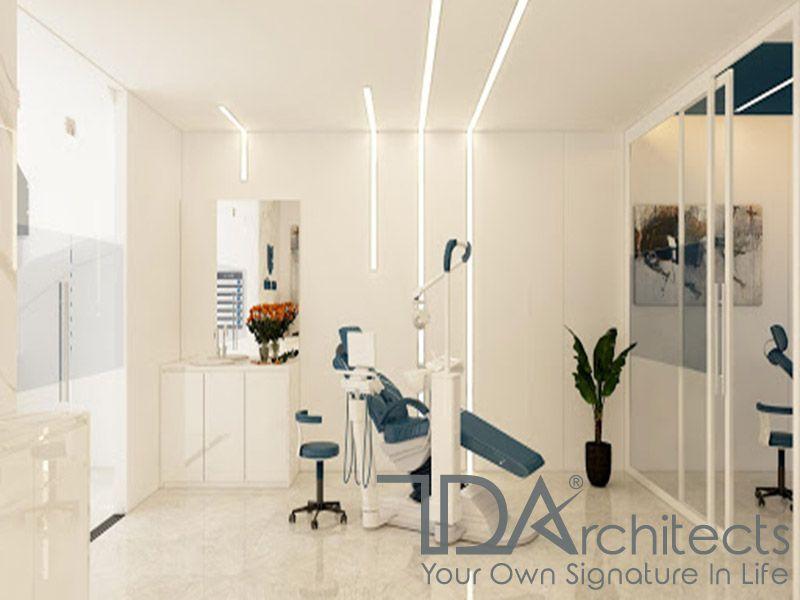 Phòng khám nha khoa với tông màu trắng sữa