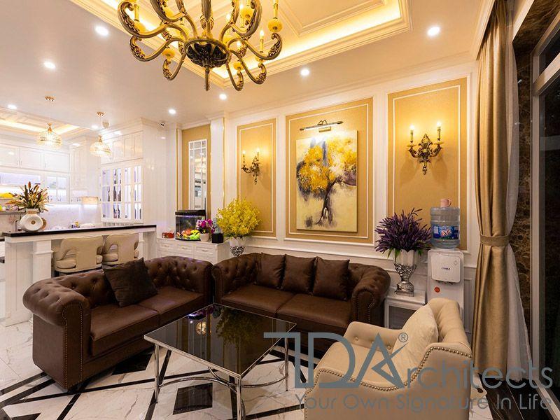 Sự kết hợp giữa màu sắc vàng và xám của sofa