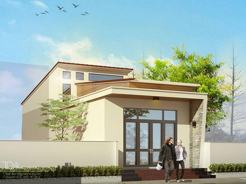 Thiết kế nhà 2 tầng lợp mái tôn