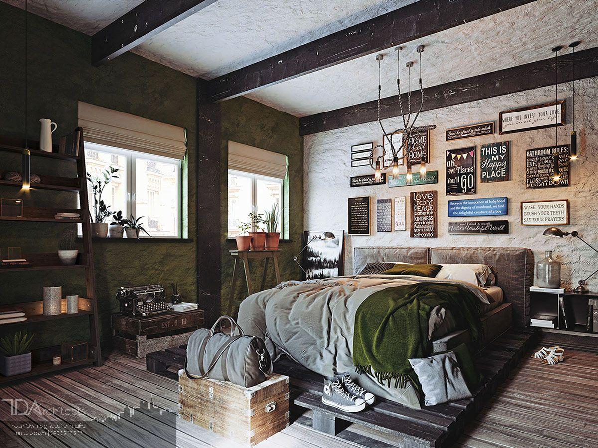 Không gian vintage với chất liệu gỗ thông