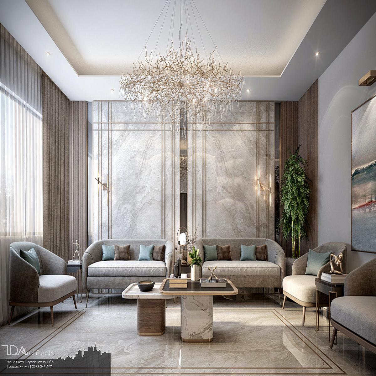 Mẫu phòng khách cho biệt thự hiện đại