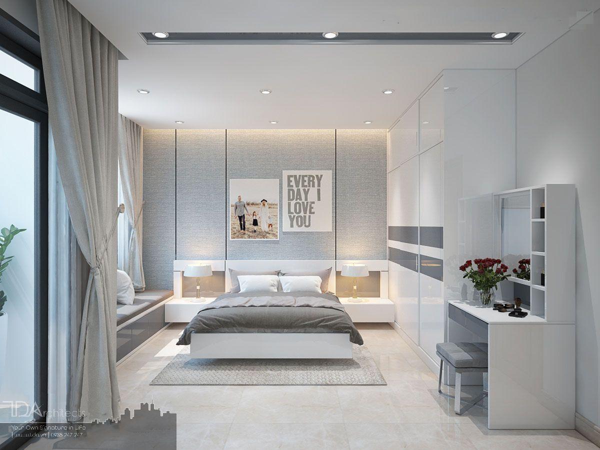 Tông màu trắng sáng cho phòng ngủ hiện đại