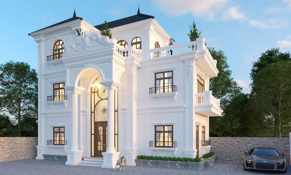 Mẫu thiết kế biệt thự 3 tầng cổ điển với gam màu trắng chủ đạo