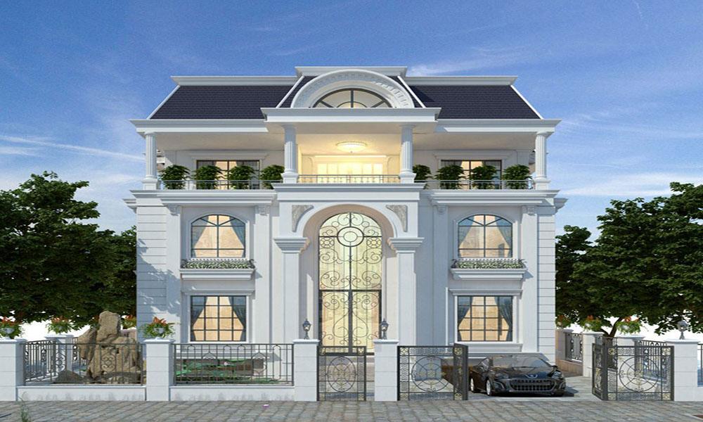 Mẫu thiết kế biệt thự 3 tầng mái thái cổ điển