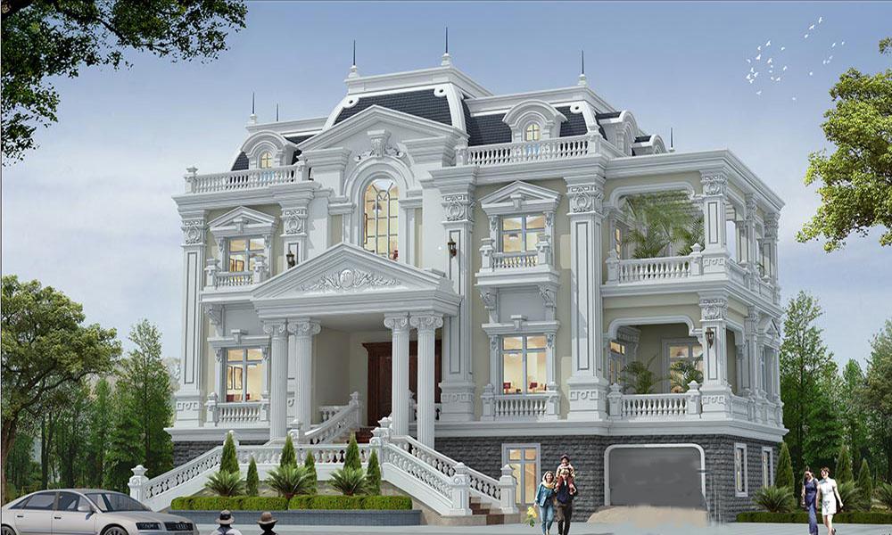 Biệt thự cổ điển màu trắng