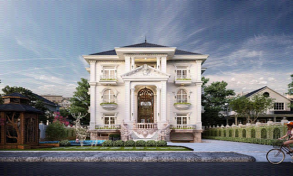 Mẫu thiết kế biệt thự 2 tầng cổ điển kết hợp với sân vườn