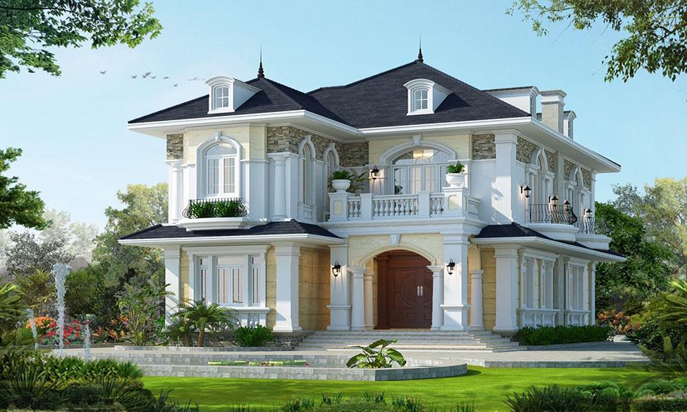 Thiết kế biệt thự 2 tầng tân cổ điển châu Âu