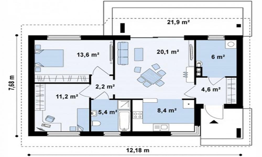 Bản vẽ mặt bằng nhà cấp 4 2 phòng ngủ