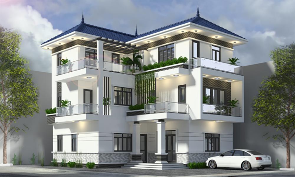Thiết kế biệt thự 3 tầng mái thái hiện đại