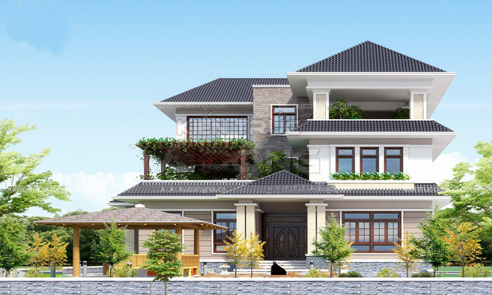 Biệt thự 3 tầng mái thái truyền thống