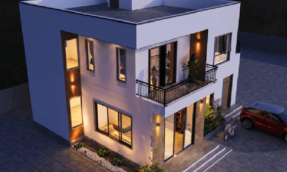 Biệt thự mini 2 tầng mái bằng