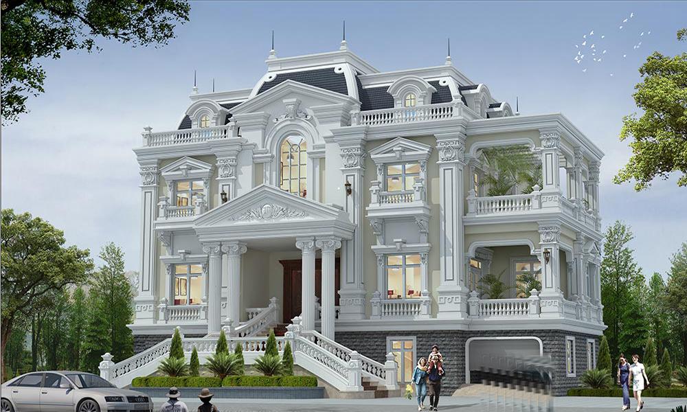 Biệt thự 3 tầng phong cách cổ điển với gam màu trắng ấn tượng