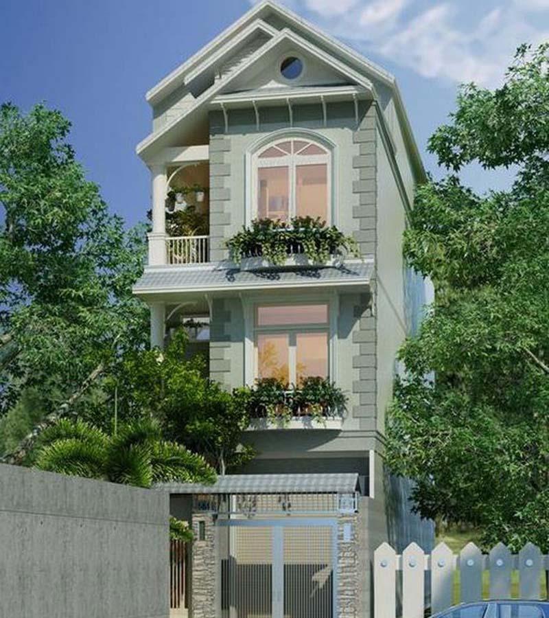Mẫu nhà 3 tầng mái thái hiện đại đẹp