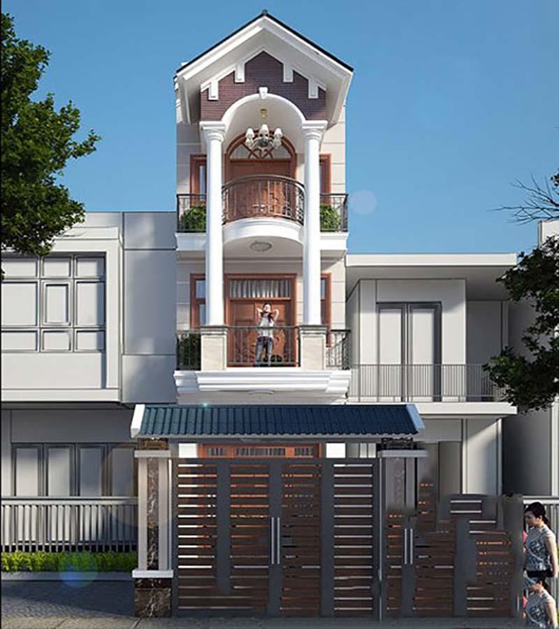 Mẫu nhà 3 tầng mái thái tân cổ điển