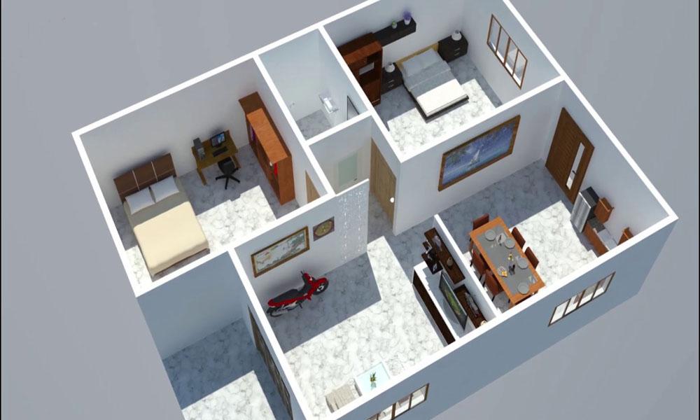 Mẫu nhà cấp 4 2 phòng ngủ đơn giản, tiện nghi