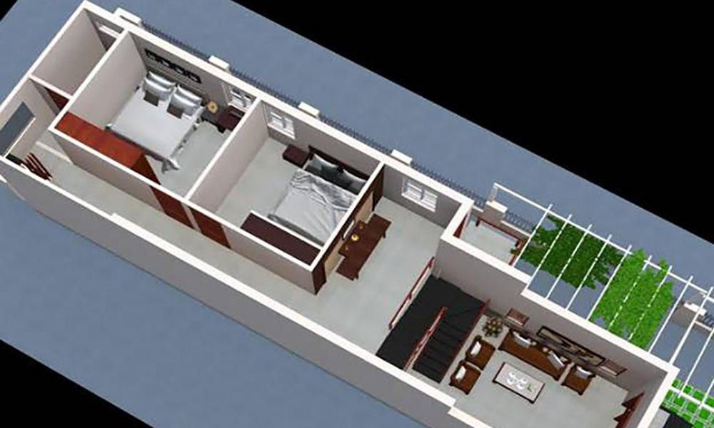 Nhà cấp 4 mái thái 2 phòng ngủ
