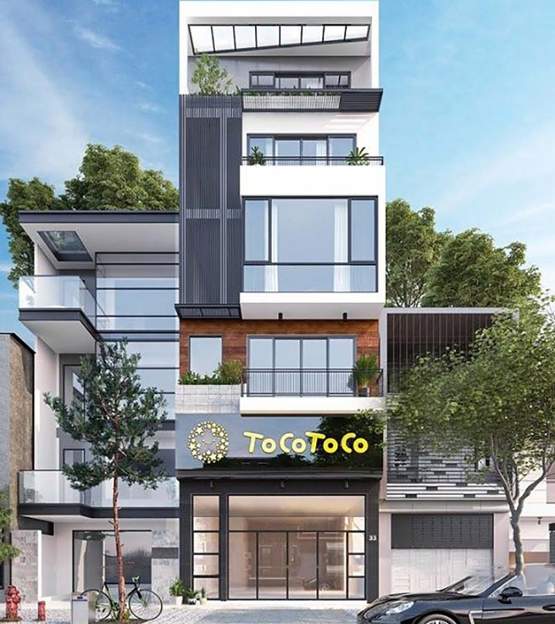 Thiết kế nhà 4 tầng có mặt bằng kinh doanh