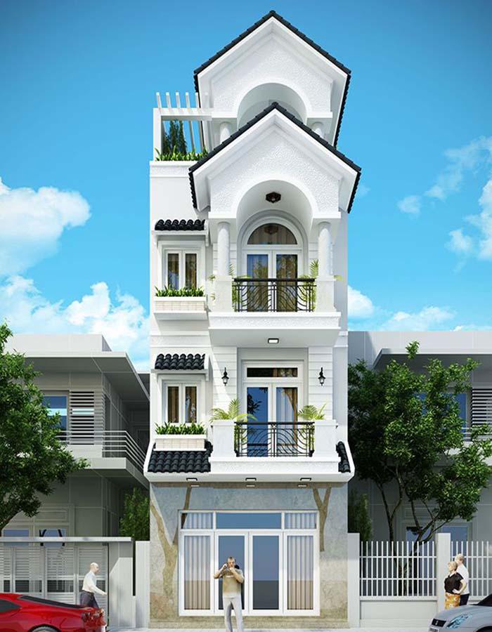 Thiết kế nhà ống mái thái 3 tầng tân cổ điển