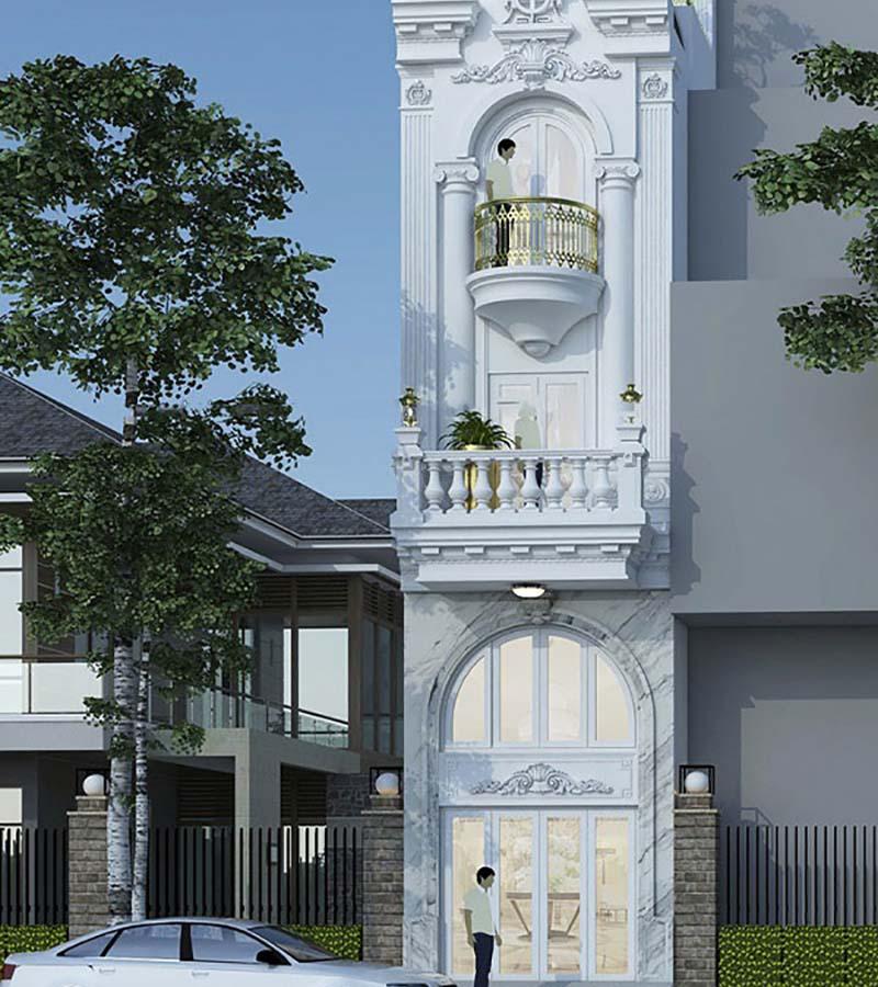 Thiết kế nhà phố 4 tầng kết hợp kinh doanh mặt tiền