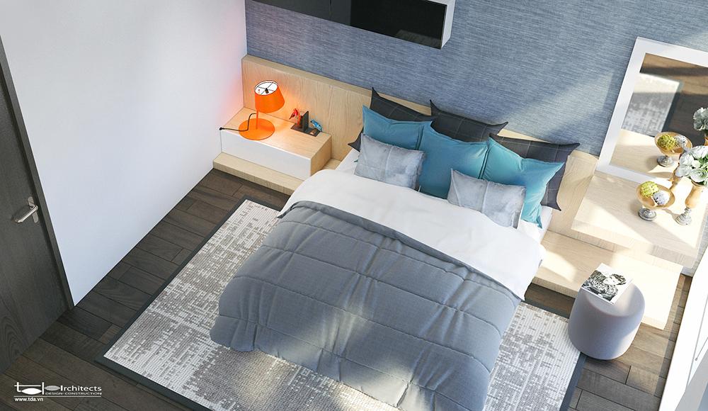 Phòng ngủ tông màu trắng xám chủ đạo