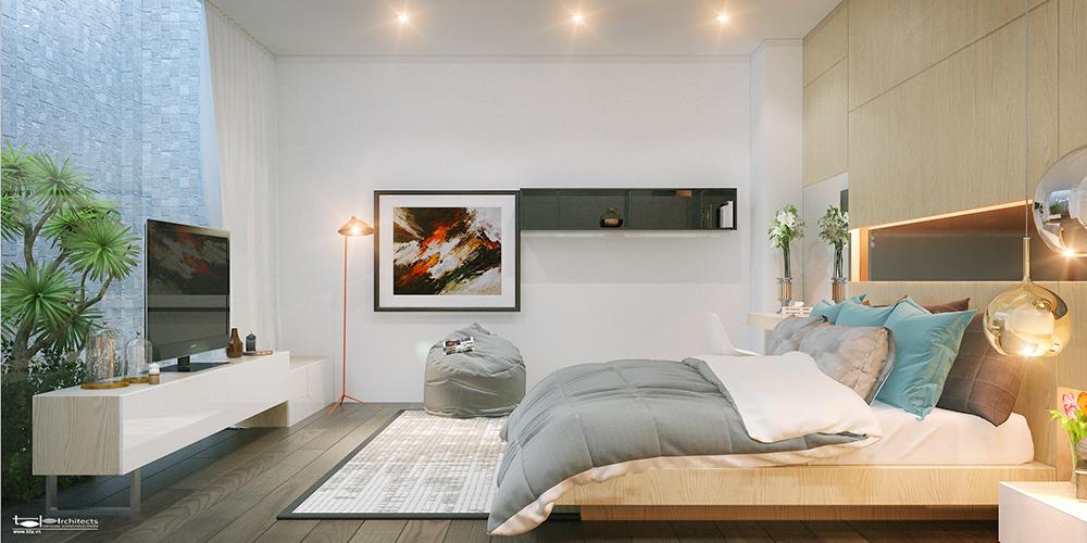 Phòng ngủ thiết kế nhà phố 6x18m