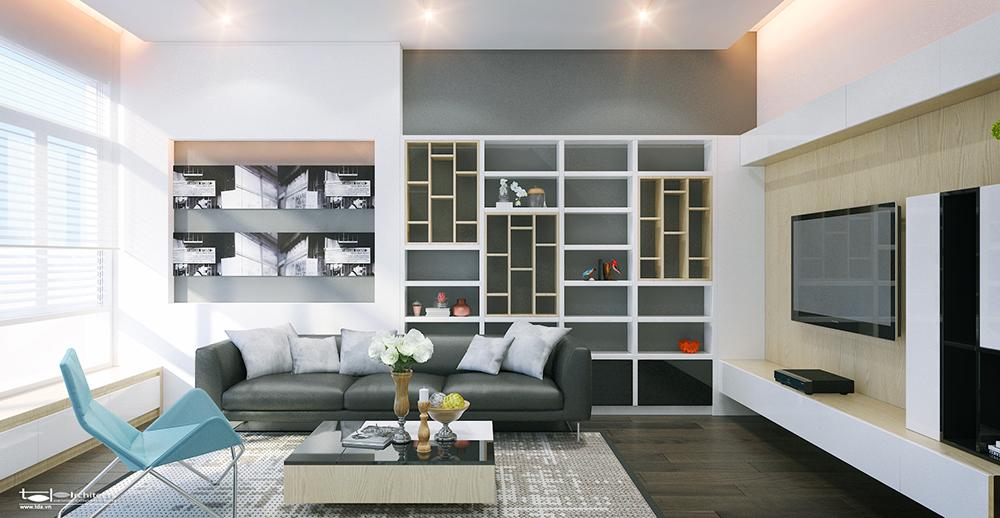 Phòng khách thiết kế nhà phố 6x18m