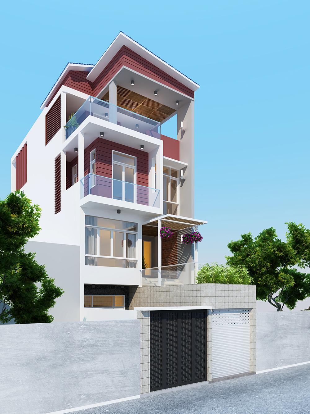 Mặt nghiêng thiết kế nhà phố 6x18m