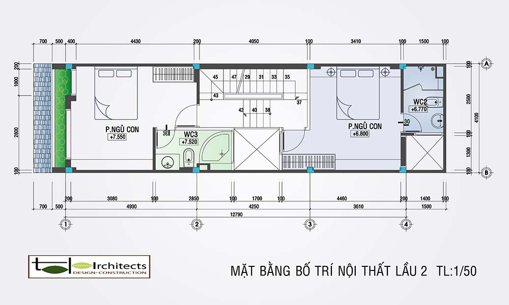 Kết cấu mặt bằng lầu 2