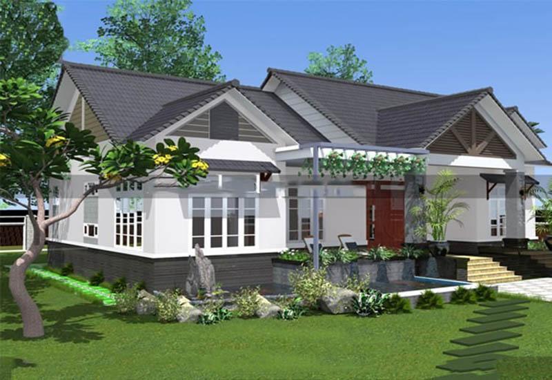 Nhà 1 tầng 4 phòng ngủ mái thái nông thôn hiện đại