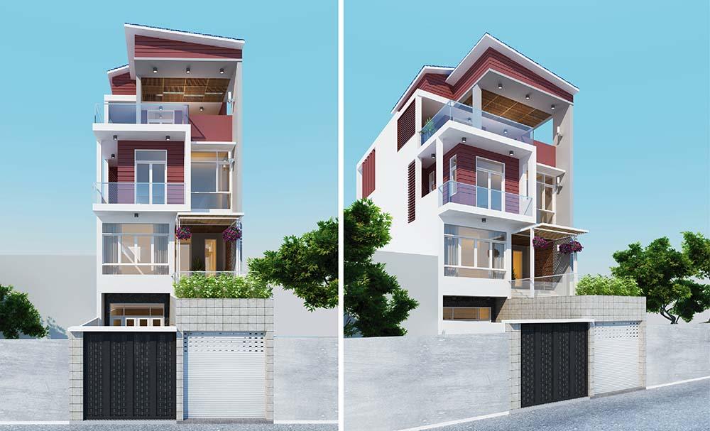 Thiết kế nhà phố 6x18m với 4 phòng ngủ