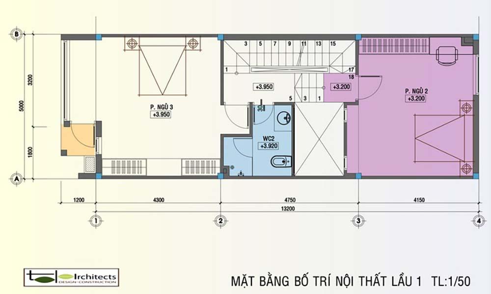 Mặt bằng lầu 1 nhà ống hiện đại diện tích 5x13m