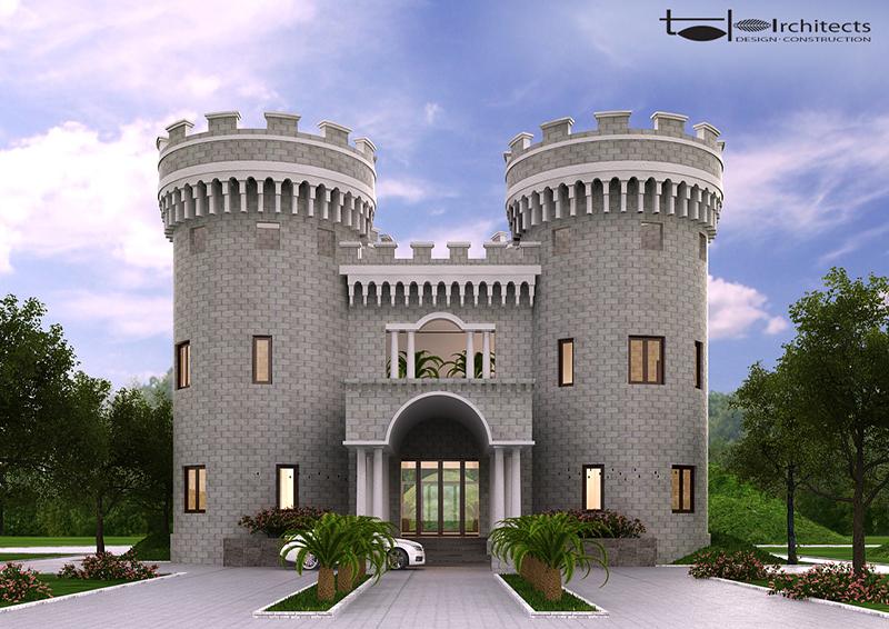 Phối cảnh chính diện lâu đài trung cổ