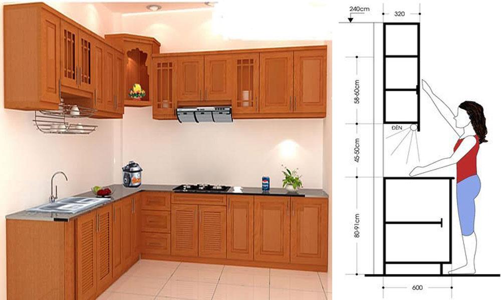 Khoảng cách tủ bếp trên và tủ bếp dưới