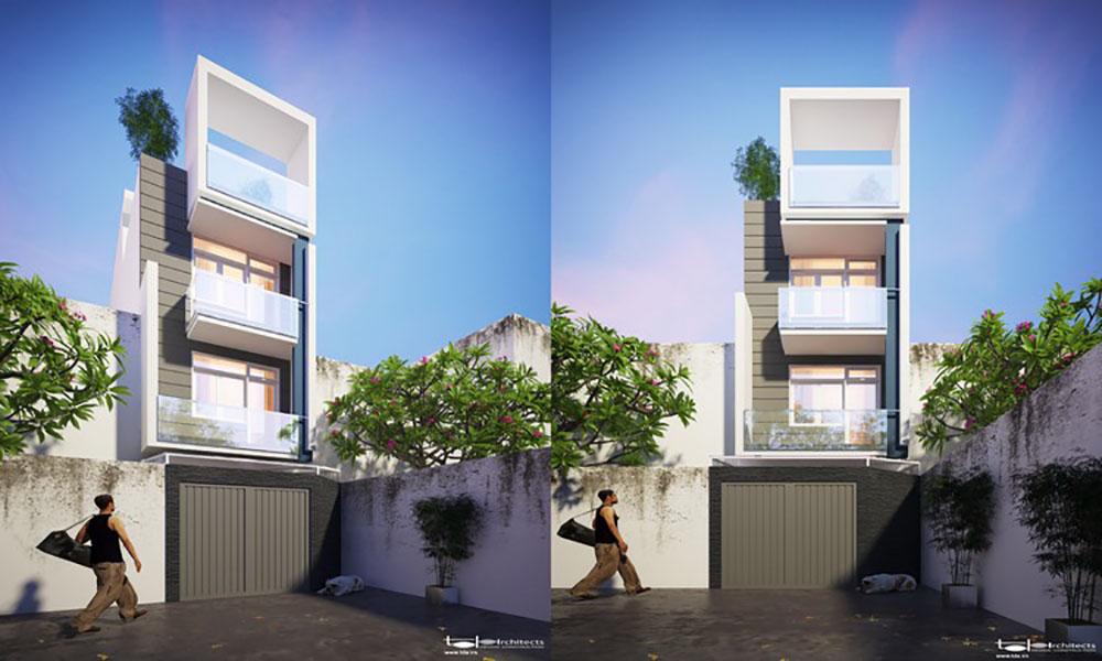 Thiết kế nhà 1 trệt 2 lầu hiện đại (4x15m)