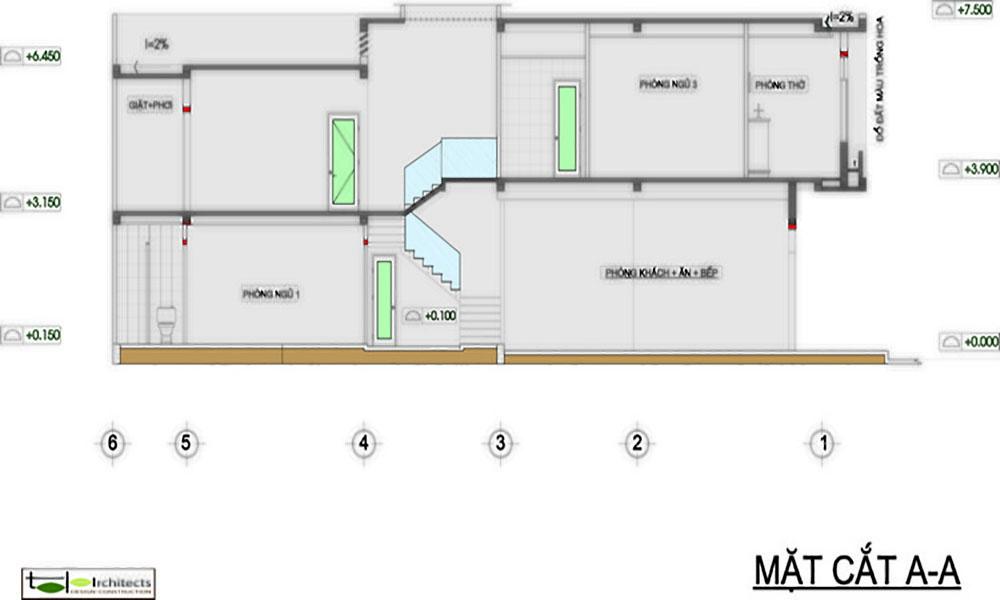 Thiết kế nhà ống 2 tầng diện tích 80m2