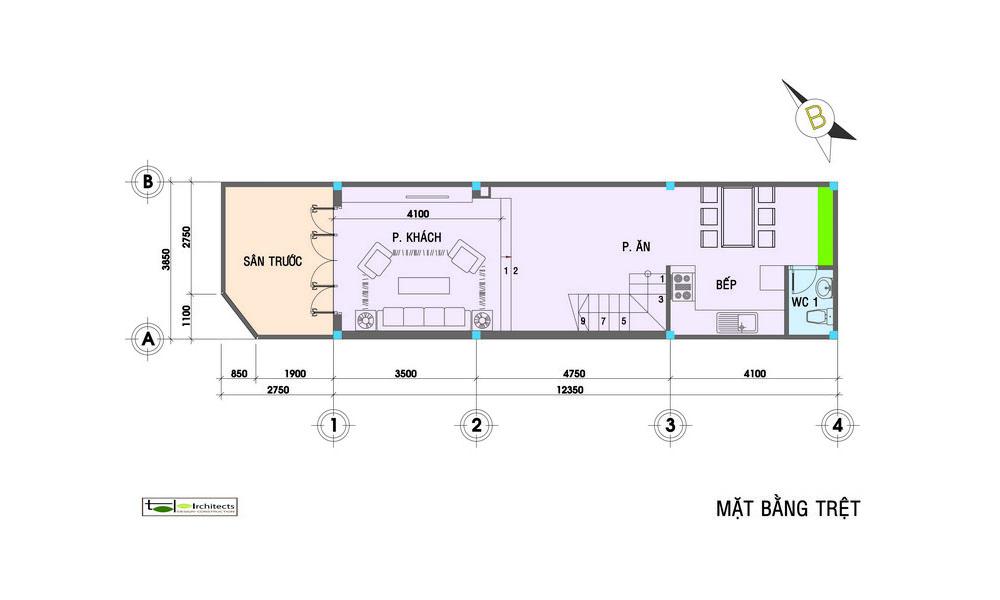 Thiết kế nhà phố một trệt hai lầu hiện đại