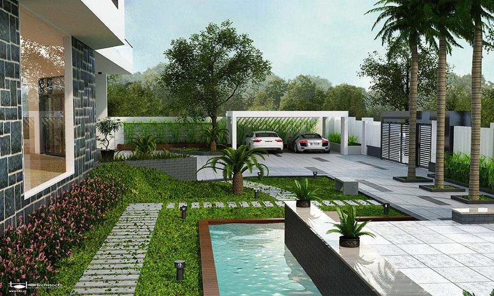 Thiết kế biệt thự vườn 3 tầng diện tích 1000m2
